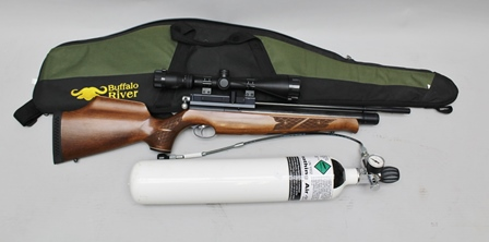 AN AIR ARMS PRE-CHARGE S410 CARBINE .22 (5.5MM), with Hawke 3-9 x 50 telescopic sight, instruction book and compressed air bottle and charging connector
