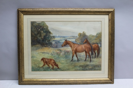 FLORENCE JAY Horses and dog in a parkland landscape, watercolour, signed, mounted in glazed gilt frame, 38.75cm x 53.75cm