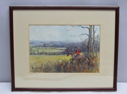 ALISON GUEST The Ashford Valley Foxhounds, Huntsman leaving covert, Watercolour, signed, mounted in glazed wood frame, 16.25cm x 24cm