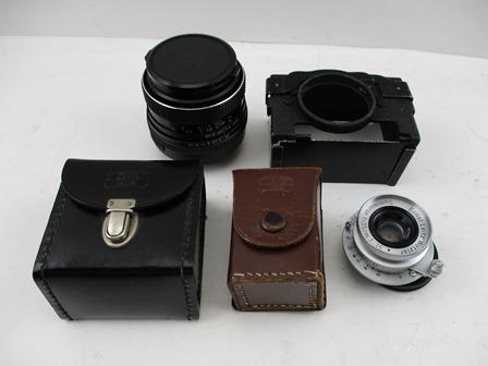 FOUR ITEMS FOR A LEICA CAMERA to include, an Ernst Leitz Wetzler Summaron f=3.5cm 1:3.5 lens