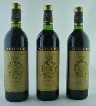 CHATEAU GRUAUD-LAROSE 1982 Grand Cru Classe Saint-Julien, Cordier, 3 bottles