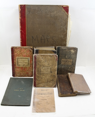 PATERSONS BRITISH ITINERARY Roads of Great Britain, volume I, published 1785, leather bound, various other maps, bound and loose