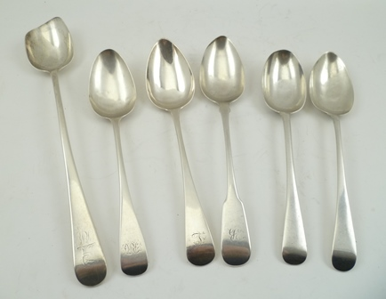 WILLIAM BATEMAN I A GEORGE III SILVER TABLE OR SOUP SPOON, London 1818, together with FOUR OTHER TABLE/SOUP SPOONS, mostly George III and a BASTING SPOON with long dog crest, combined weight 400g