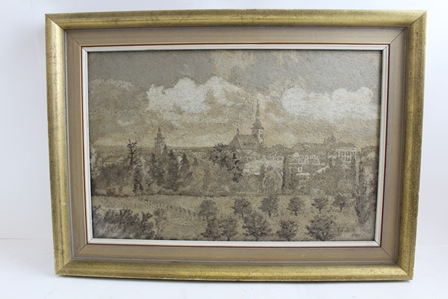 VLADIMIR MERINSKY A THIRD QUARTER 20TH CENTURY COLLAGE of a Czechoslovakian village in muted natural tones 31cm x 48cm signed and dated 1969, behind glass with part painted and gilt frame (this item has been displayed in the Vyskov Museum)