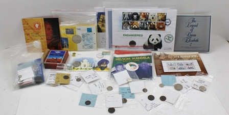 A BOX OF ASSORTED COINS, some with certificates