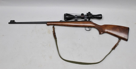 A CZ MODEL 4252E ZKM BOLT ACTION HUNTING RIFLE 853924 with wood stock and Simmons Deerfield 3-9 x 50 TELESCOPIC SIGHT and two plastic magazines one 5 round, one 10 round, with case (Section 1 Firearm Certificate required)