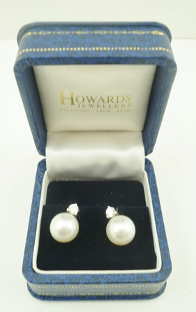 A PAIR OF PEARL AND DIAMOND EARRINGS, 18ct white gold mounted