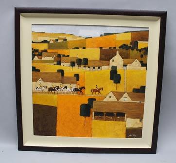 ALAN PARRY (ARR may apply) Cotswold Ridge rural study, Acrylic on hardboard, signed, 65cm x 65cm, in painted wood frame