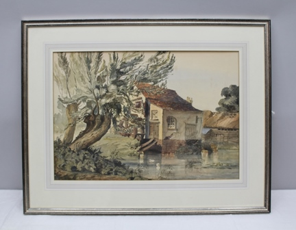 THOMAS EXIENEG Welford Mill, Stratford-upon-Avon, Watercolour painting, signed and inscribed 52, 35cm x 51cm, mounted in silvered glazed frame (bears The Loquens Gallery label verso)