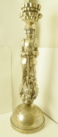 AN EARLY 20TH CENTURY AUSTRIAN SILVER PLATED LAMP BASE, the stem modelled as St George, standing victorious over the dragon, raised upon a domed base, 67cm high