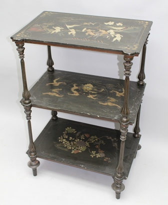 A 19TH CENTURY CHINESE EXPORT THREE TIER LACQUERED WHATNOT, having gilded battle scenes to each tier, on turned and fluted ebonised supports, 64cm wide x 95cm high