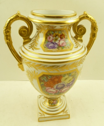 A LATE 19TH CENTURY SAMPSON OF PARIS TWO-HANDLED VASE in the Derby style, gilded handles and panels of flowers, bearing 19th century red painted Derby factory mark to base, 28cm high