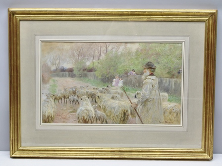 ROBERT G. MEYERHEIM, RI (1847-1920) Driving the Flock, a shepherd with his flock on a country lane, children watching them go by, Watercolour painting, signed, 39cm x 67cm, mounted in gilt glazed frame