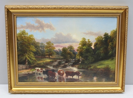 THOMAS BAKER, LEAMINGTON (1809-1864) Cattle Watering in the Avon, Landscape with Sunset, Oil painting on canvas, signed and dated 1861, 32cm x 47cm, in gilt glazed frame