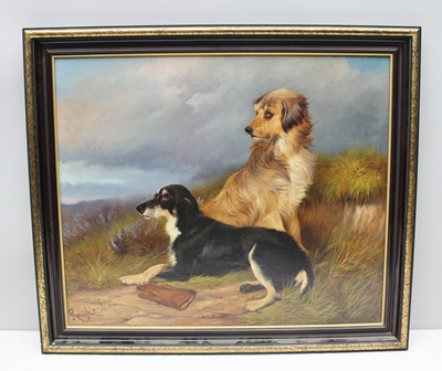 COLIN GRAEME Rough and Jack, two waiting dogs in a landscape beside their masters glove, Oil painting on canvas, signed, inscribed and dated 1902, 59cm x 70cm, in parcel gilt frame