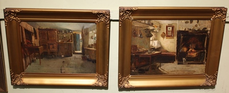 LATE 19TH CENTURY SCOTTISH SCHOOL But n Ben houses, two interior scenes, one depicts the bed and various cupboards and an open door, the other a range, table, American wall clock etc., Oil paintings on canvas, the larger one 30cm x 40cm, in ornate gilt frames