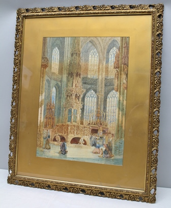 H. SCHAFFER St Lawrence Church, Nurenberg, interior scene, Watercolour painting, signed and inscribed, 63cm x 45cm, in ornate gilt glazed frame