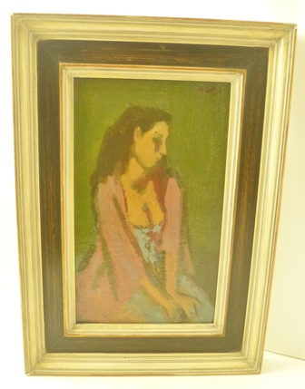 CHARLES McCALL Reverie, Portrait of a girl in a pink coat, Oil painting on panel, signed, 28cm x 17cm, in painted frame