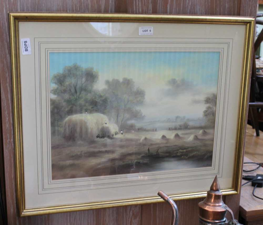 A 20TH CENTURY PASTEL STUDY OF HAY MAKING  in