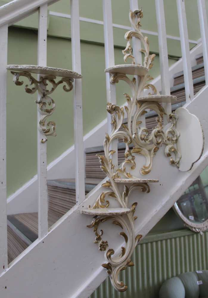 FOUR VARIOUS WALL BRACKETS, currently painted