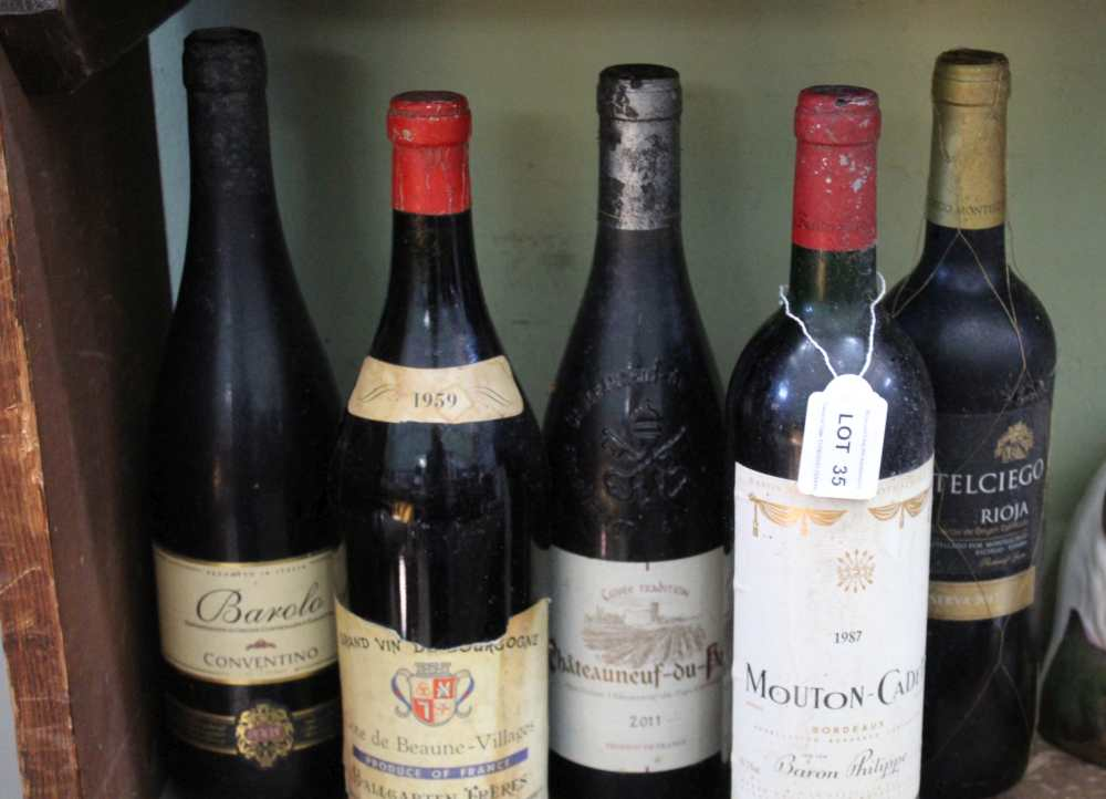 FIVE BOTTLES OF RED WINE from France, Italy &