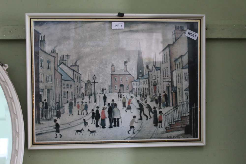 A COLOURED LOWRY PRINT OF A NORTHERN STREET S