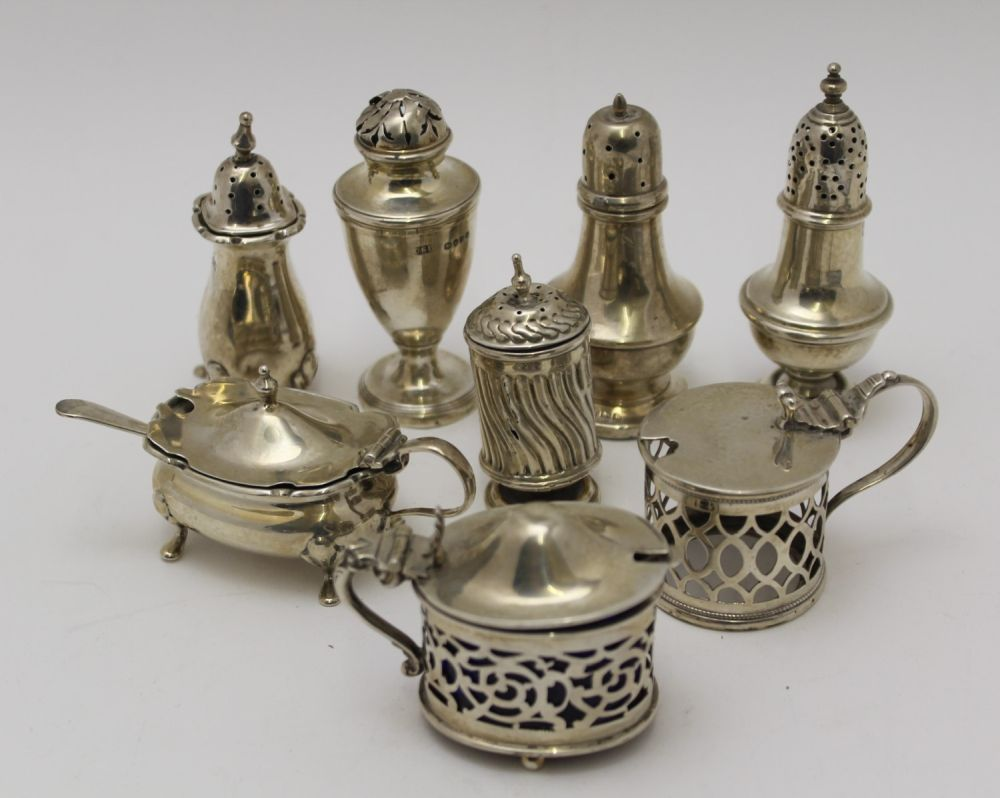 A COLLECTION OF SILVER CONDIMENTS, to include
