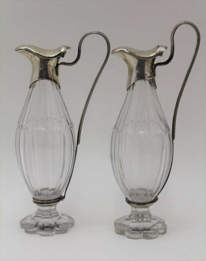 A PAIR OF 19TH CENTURY SILVER MOUNTED CUT GLA