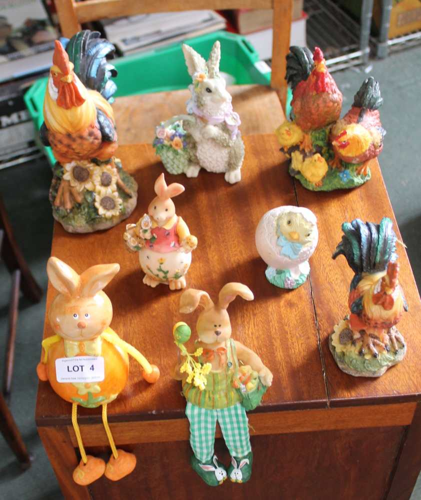 A SELECTION OF RESIN ANIMAL FIGURINES, the ma
