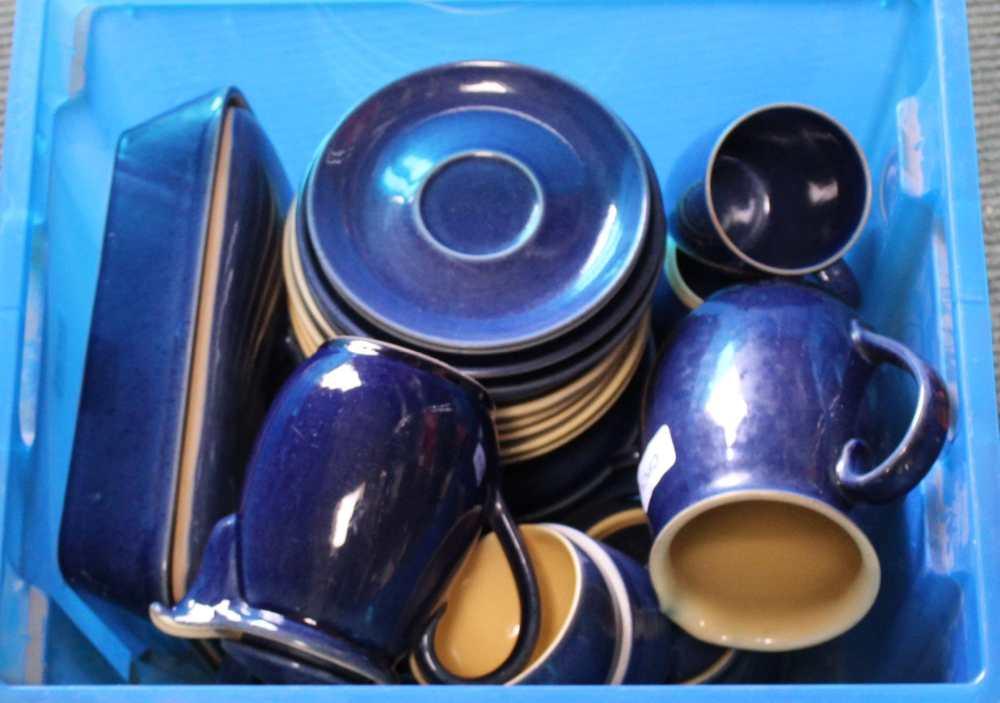 A SELECTION OF BLUE FLECK GLAZED DENBY POTTER