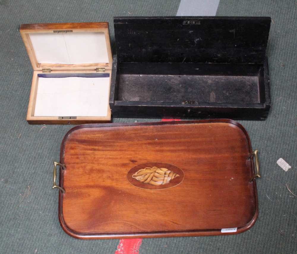 A WOODEN TWIN HANDLED TRAY together with two