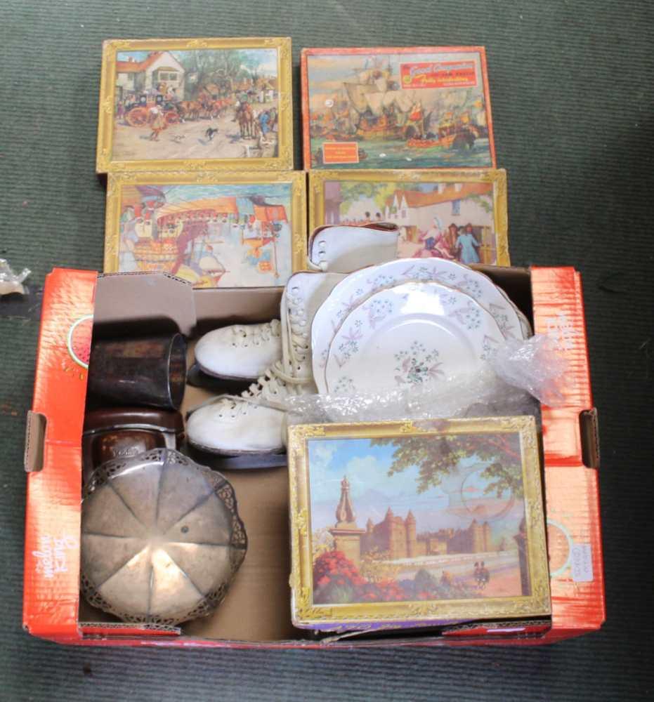 A BOX CONTAINING A SERIES OF WADDINGTONS JIGS