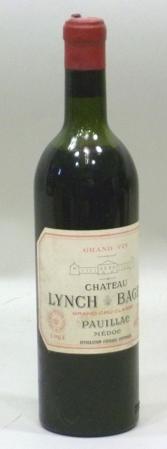 CHATEAU LYNCH BAGES 1961 AC Pauillac Medoc, grand cru classe, 1 bottle (upper shoulder)