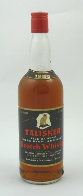 TALISKER 1956, Isle of Skye Pure Highland Scotch Whisky, 70 degrees proof, 26 2.3fl. oz., 75.7cl. bottled by Gordon & MacPhail, 1 bottle
