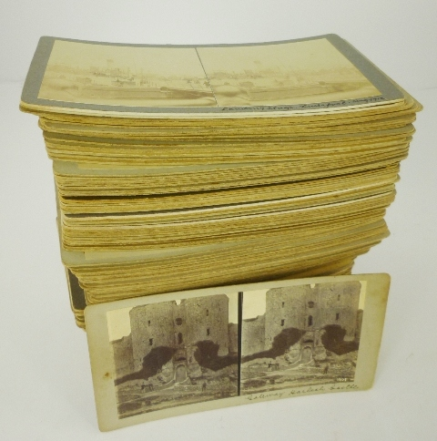 A COLLECTION OF STEREOSCOPIC CARD SLIDES mostly un-named photographers, including English seaside towns, Lake District and central London, approximately 157