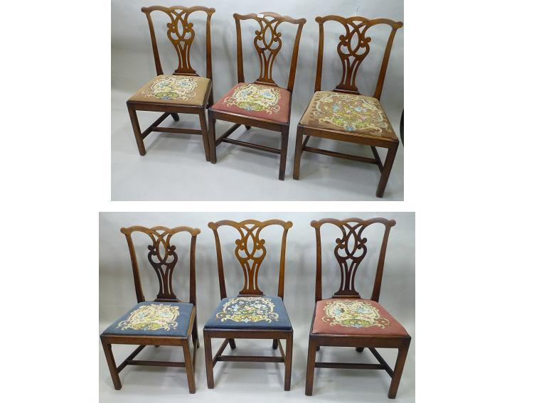 A SET OF SIX EARLY 19TH CENTURY MAHOGANY COUNTRY CHIPPENDALE DINING CHAIRS, each having a shaped crest rail, fretted waisted splat needlepoint drop-in seat, raised on squared forelegs