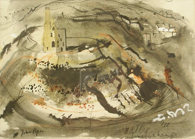 JOHN PIPER Tin Mine - a pit pumping station and another building in a typical landscape with black and orange colouring, Watercolour, signed, inscribed indistinctly Twelveheads, bears Lefevre Gallery label verso, 18cm x 25cm, in gilt glazed frame