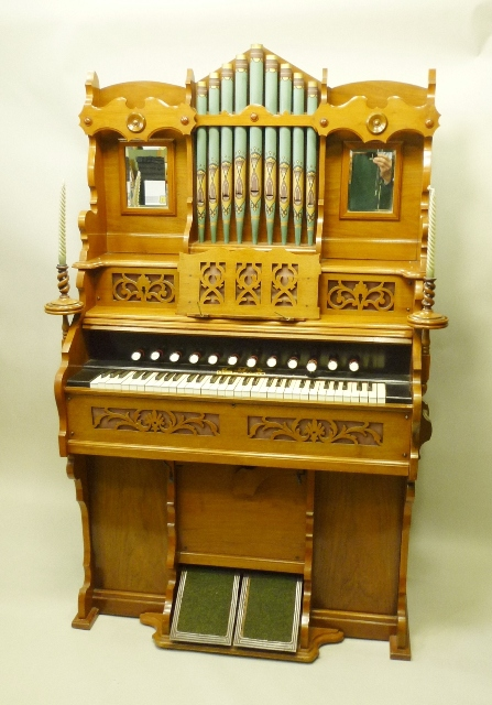 UNESC - 55 LUDGATE HILL, LONDON EC A VICTORIAN FREE-STANDING PEDAL HARMONIUM, having a high back with nine graduated pipes and flank mirrors, fretted music support and twin turned candle sticks, keyboard and pedals below, 178cm x 110cm