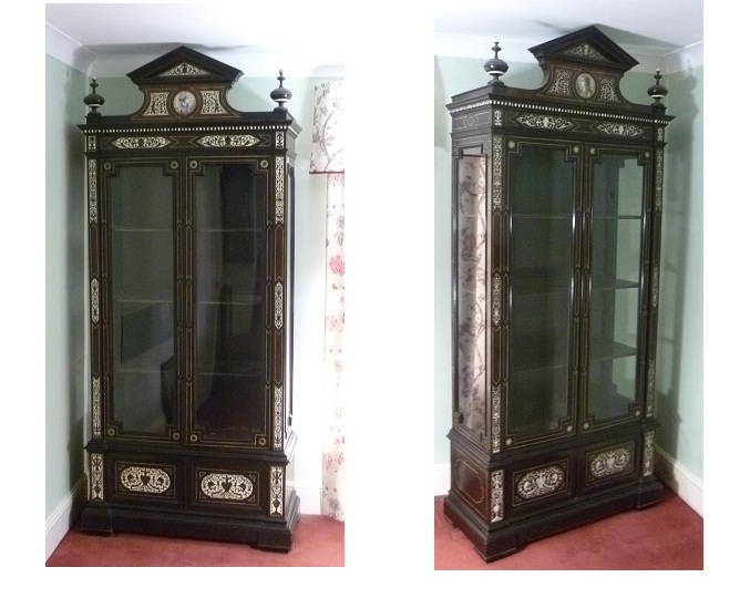 A PAIR OF LATE 18TH/EARLY 19TH CENTURY (GRAND TOUR PERIOD) FLORENTINE EBONY AND IVORY INLAID DISPLAY CABINETS, each having an architectural moulded pediment flanked by twin finials over an inverted dentil cornice with twin later glazed doors below, on a base with twin panelled doors, each inlaid with stylised flora, foliate and animal motifs, on plinth, 2.3m x 1.02m (ex Asgill House, Richmond. Surrey).