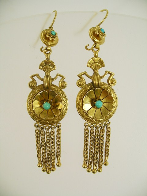 A PAIR OF VICTORIAN ETRUSCAN STYLE BLOOMED GOLD EARRINGS, each with wire fittings, floret set turquoise and tassels below
