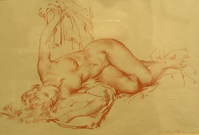 SIR WILLIAM RUSSELL FLINT (ARR) A Chalk Study of a reclining female nude, signed, 20cm x 30cm in decorative mount and moulded gilt frame