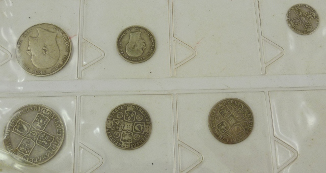 A GEORGE II SILVER HALF CROWN 1746, THREE SILVER SHILLINGS 1743, 1723 and 1756, and an EDWARD VII HALF CROWN 1909