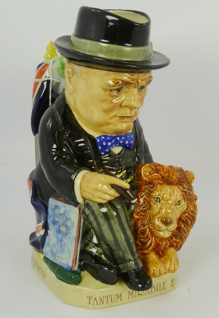 KEVIN FRANCIS CERAMICS LTD. SPIRIT OF BRITAIN CHURCHILL, limited edition toby jug, no.1032/5000, modelled by Peggy Davies, depicting a seated Churchill with lion at his side, 23cm high (with certificate)