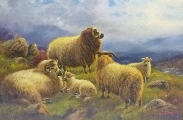 C**O** WILLIAMS Longhorn Sheep at rest in a moorland landscape with distant stream, Oil on canvas, signed, 50 x 75cm in gilt frame