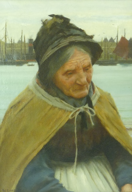 WALTER LANGLEY An elderly woman, (probably Old Grace), three-quarter length, looking soulful with shipping in the background, Oil on Canvas, signed, 35cm x 24cm, in gilt frame