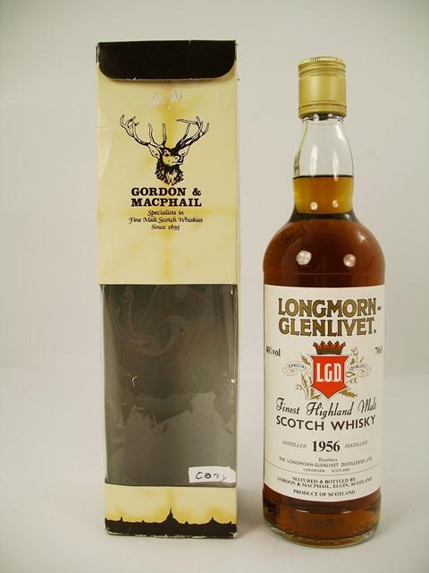 LONGMORE-GLENLIVET 1956 Finest Highland Malt Scotch Whisky, matured and bottled by Gordon & MacPhail, Elgin, Scotland, 40% vol., 1 x 70cl bottle in original box
