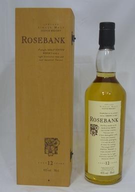 ROSEBANK 12 YEAR OLD Single Malt Lowland Scotch Whisky, triple distilled, 43% vol., 1 x 70cl bottle in presentation wooden case