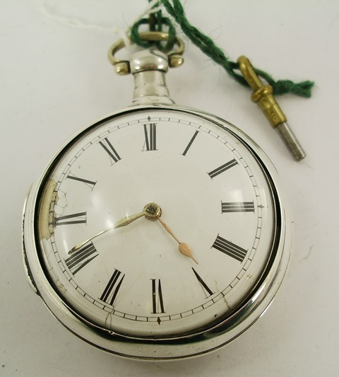 JAS HAMILTON - LONDON A GENTLEMANS REGENCY SILVER PAIR CASE POCKET WATCH, having fretted back, cock verge escapement with fusee, no dust cover, faced by Roman calibrated dial, including key, London 1810