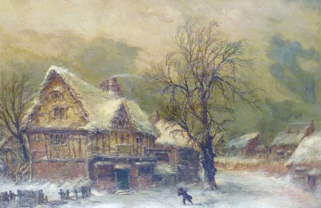 WILLIAM STONE A Winter Village Scene, with figure approaching a three storey tavern under wind swept winter skies, a 19th century Oil on canvas, signed, 40 x 60cm, in moulded off white frame, sold together with typed biography