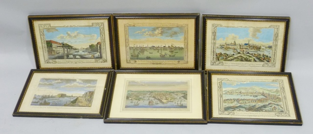 A SET OF FOUR EARLY 19TH CENTURY ENGRAVINGS, Millars System of Geography comprising views of Stockholm, Amsterdam, Hague and Bergen, another Middletons system Admiralty Office and Fortifications of Malta, 15cm x 25cm, in period matching Hogarth style glazed frames